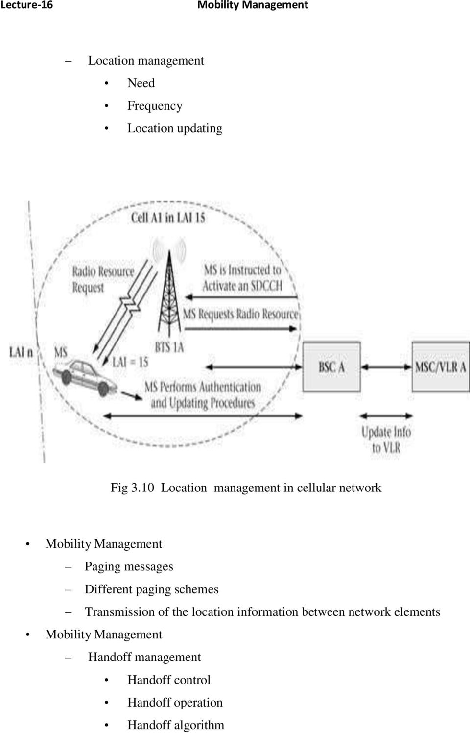 Different paging schemes Transmission of the location information between network