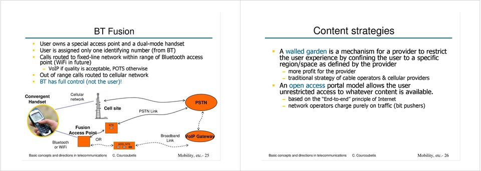 Convergent Handset Cellular Cell site PSTN Link PSTN Content strategies A walled garden is a mechanism for a provider to restrict the user experience by confining the user to a specific region/space