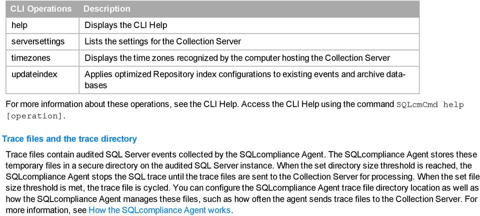 Access the CLI Help using the cmmand SQLcmCmd help [peratin]. Trace files and the trace directry Trace files cntain audited SQL Server events cllected by the SQLcmpliance Agent.