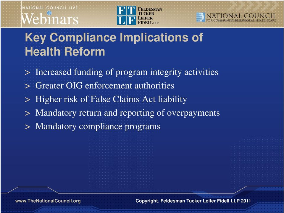 authorities > Higher risk of False Claims Act liability >