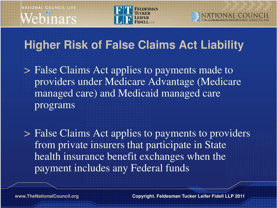 programs > False Claims Act applies to payments to providers from private insurers that