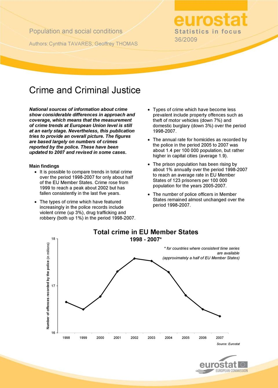 Nevertheless, this publication tries to provide an overall picture. The figures are based largely on numbers of crimes reported by the police.