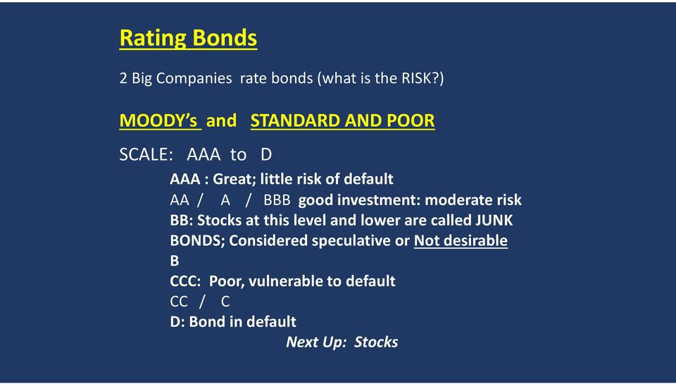 A / BBB good investment: moderate risk BB: Stocks at this level and lower are called JUNK