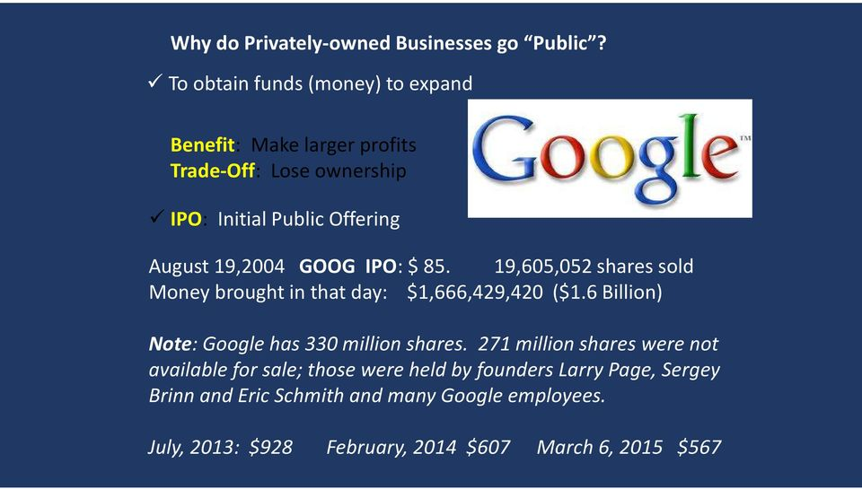19,2004 GOOG IPO: $ 85. 19,605,052 shares sold Money brought in that day: $1,666,429,420 ($1.