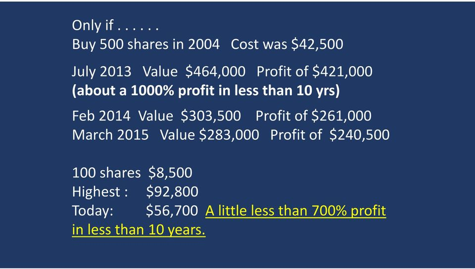 $421,000 (about a 1000% profit in less than 10 yrs) Feb 2014 Value $303,500 Profit