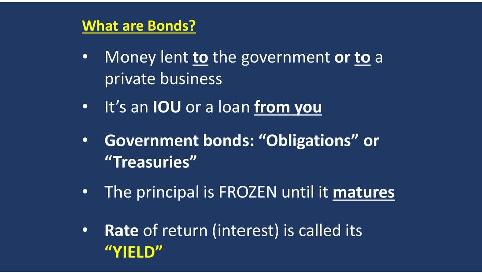 an IOUor a loan from you Government bonds: Obligations