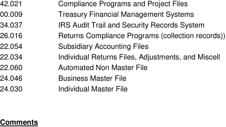 016 Returns Compliance Programs (collection records)) 22.054 Subsidiary Accounting Files 22.