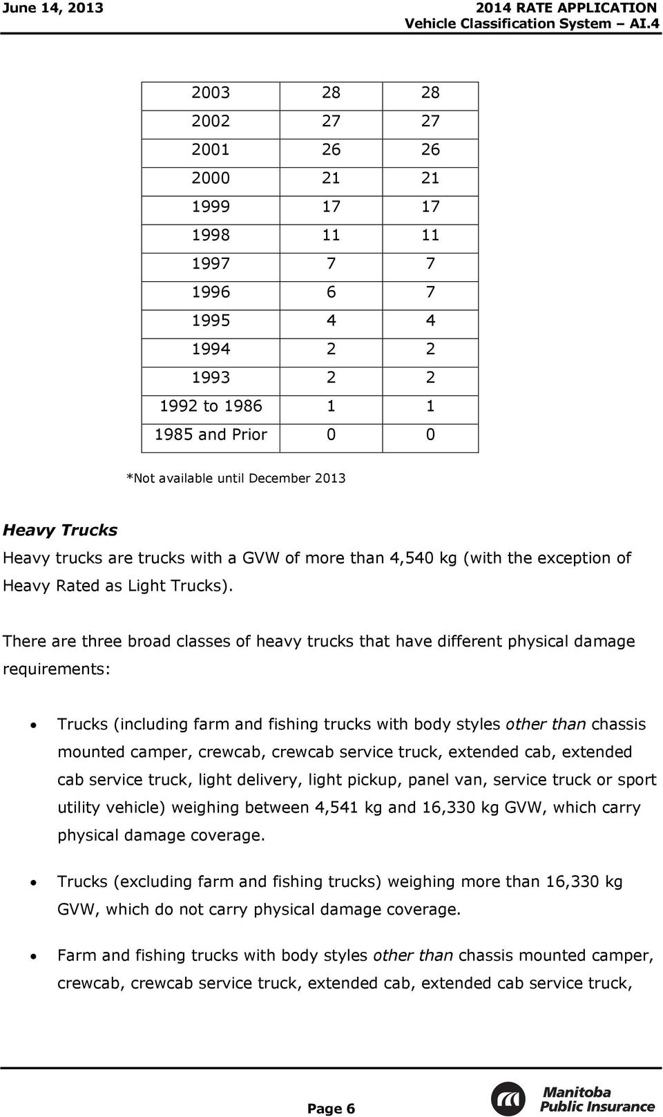There are three broad classes of heavy trucks that have different physical damage requirements: Trucks (including farm and fishing trucks with body styles other than chassis mounted camper, crewcab,