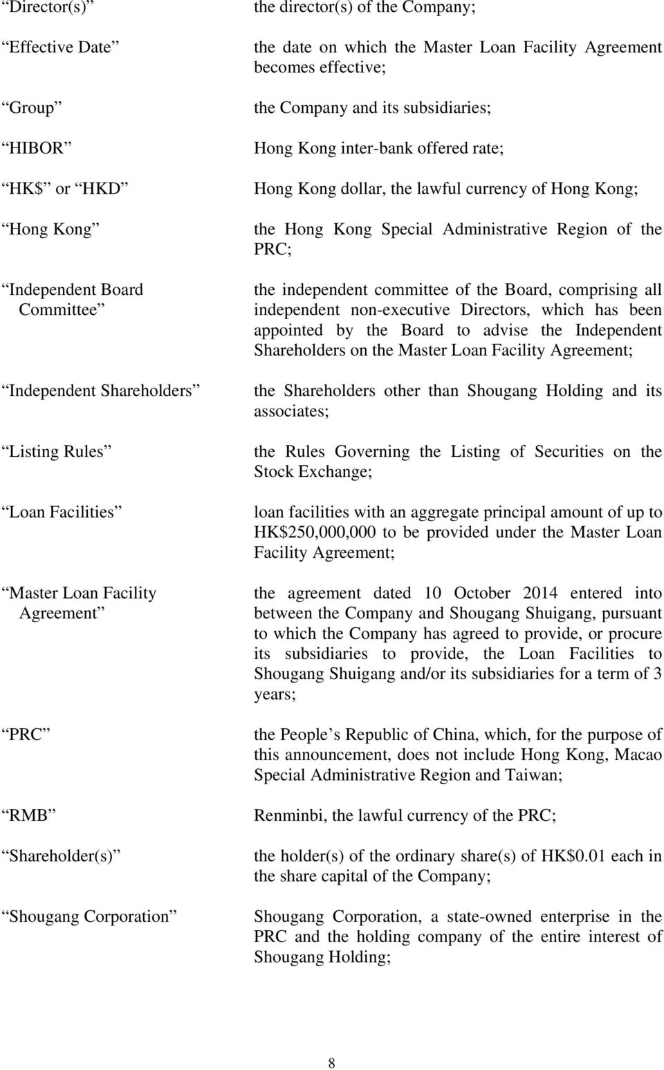 Kong dollar, the lawful currency of Hong Kong; the Hong Kong Special Administrative Region of the PRC; the independent committee of the Board, comprising all independent non-executive Directors,