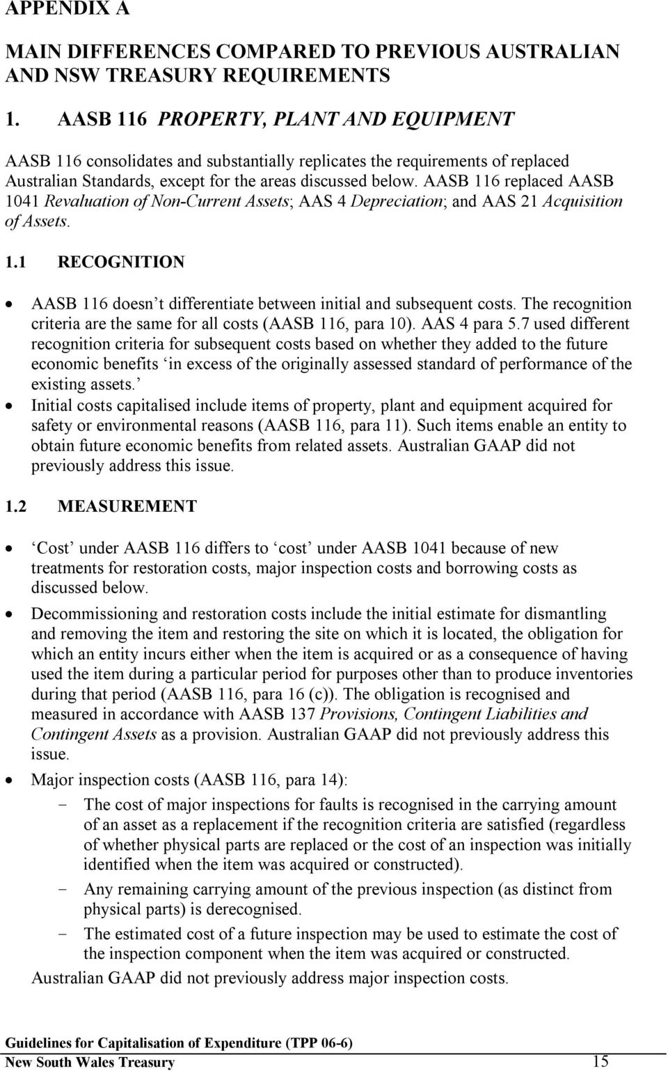 AASB 116 replaced AASB 1041 Revaluation of Non-Current Assets; AAS 4 Depreciation; and AAS 21 Acquisition of Assets. 1.1 RECOGNITION AASB 116 doesn t differentiate between initial and subsequent costs.