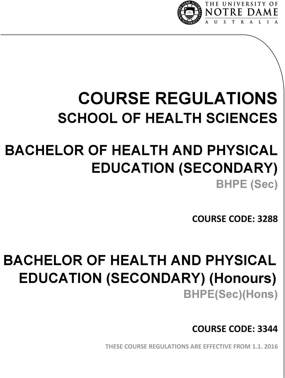 OF HEALTH AND PHYSICAL EDUCATION (SECONDARY) (Honours)