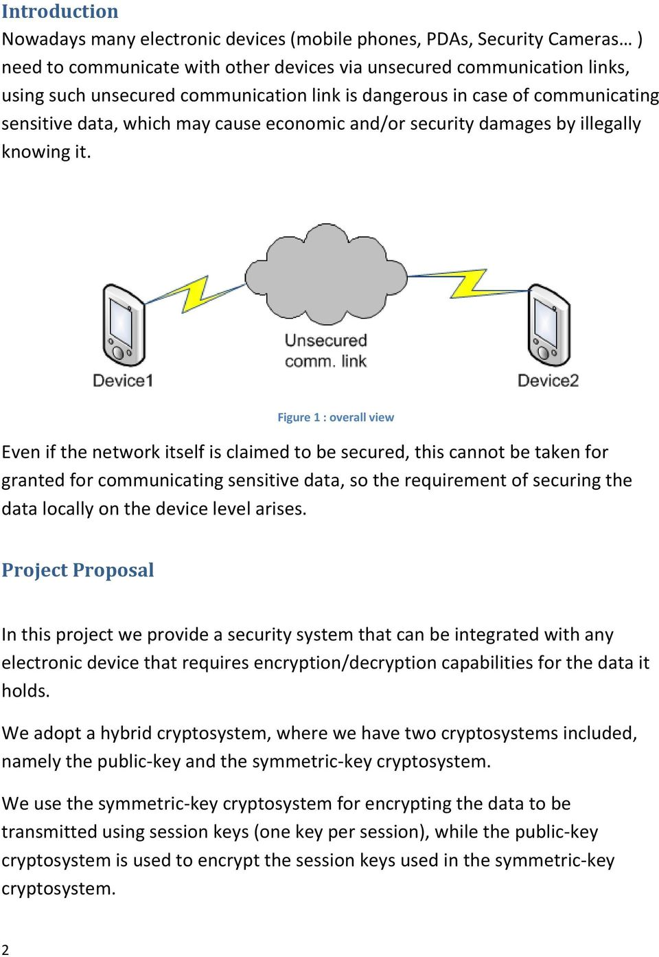 Figure 1 : overall view Even if the network itself is claimed to be secured, this cannot be taken for granted for communicating sensitive data, so the requirement of securing the data locally on the