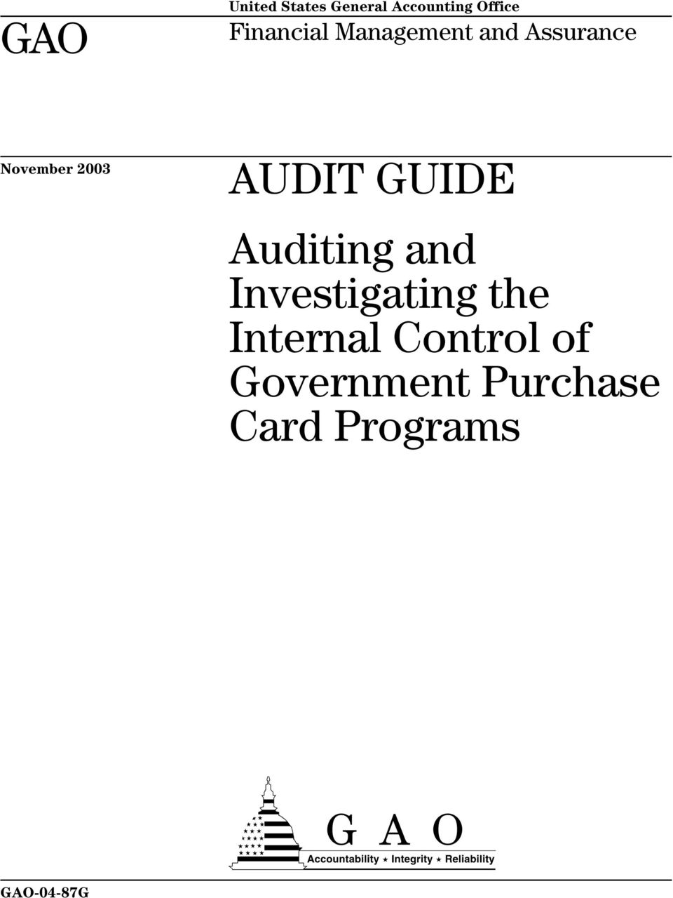 AUDIT GUIDE Auditing and Investigating the