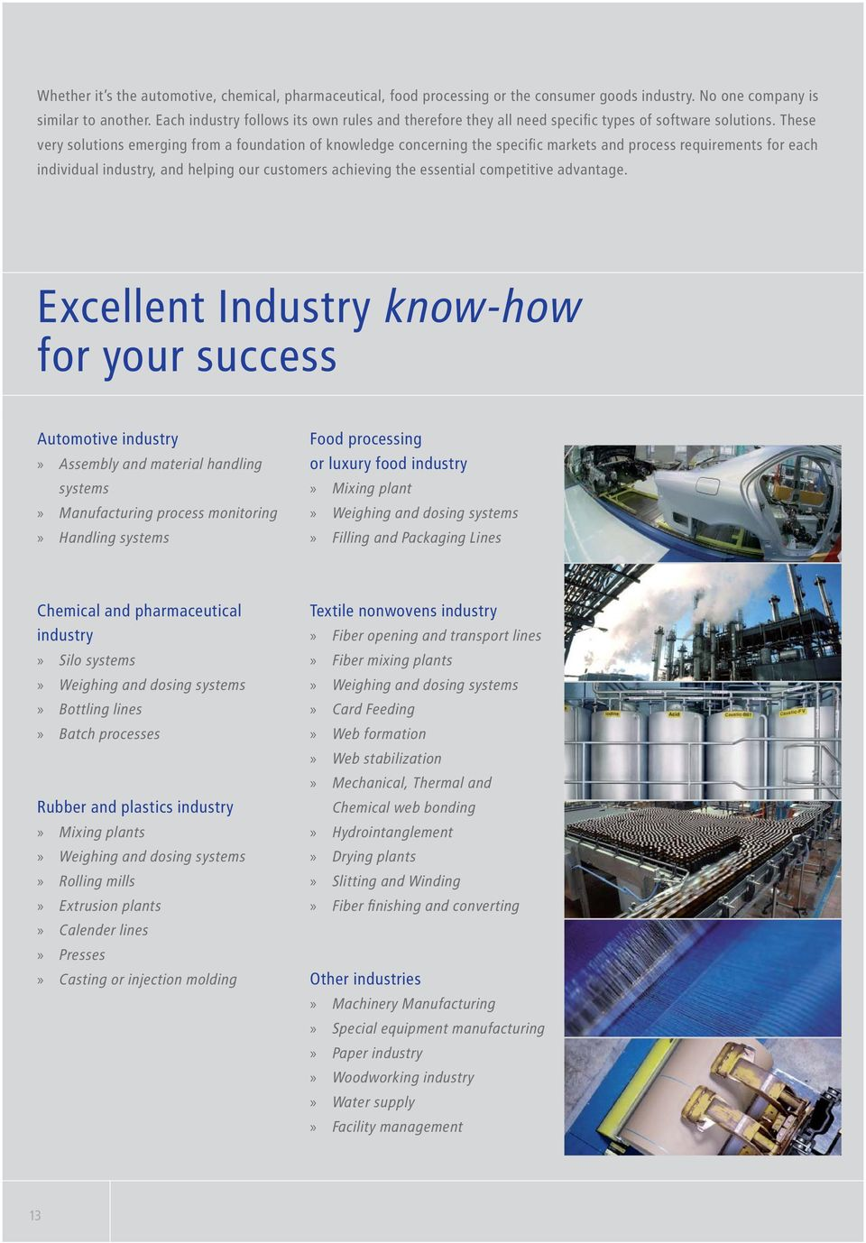 These very solutions emerging from a foundation of knowledge concerning the specific markets and process requirements for each individual industry, and helping our customers achieving the essential
