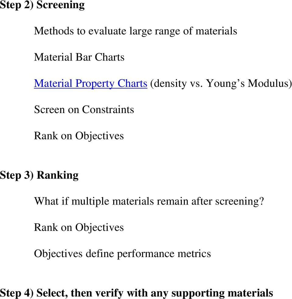 Young s Modulus) Screen on Constraints Rank on Objectives Step 3) Ranking What if