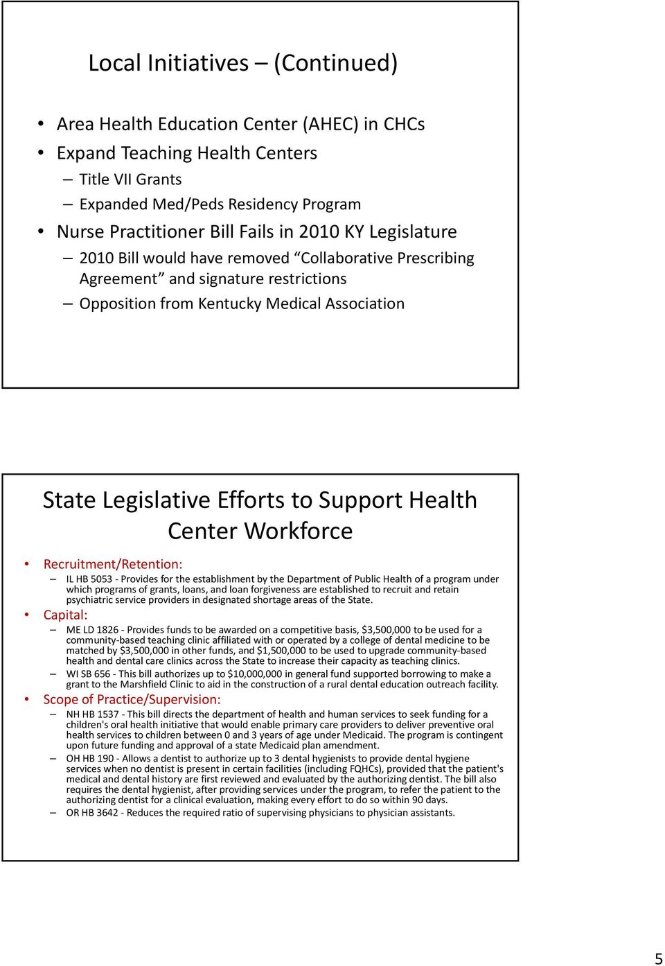 Center Workforce Recruitment/Retention: IL HB 5053 Provides for the establishment by the Department of Public Health of a program under which programs of grants, loans, and loan forgiveness are