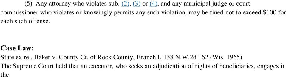 Baker v. County Ct. of Rock County, Branch I, 138 N.W.2d 162 (Wis.
