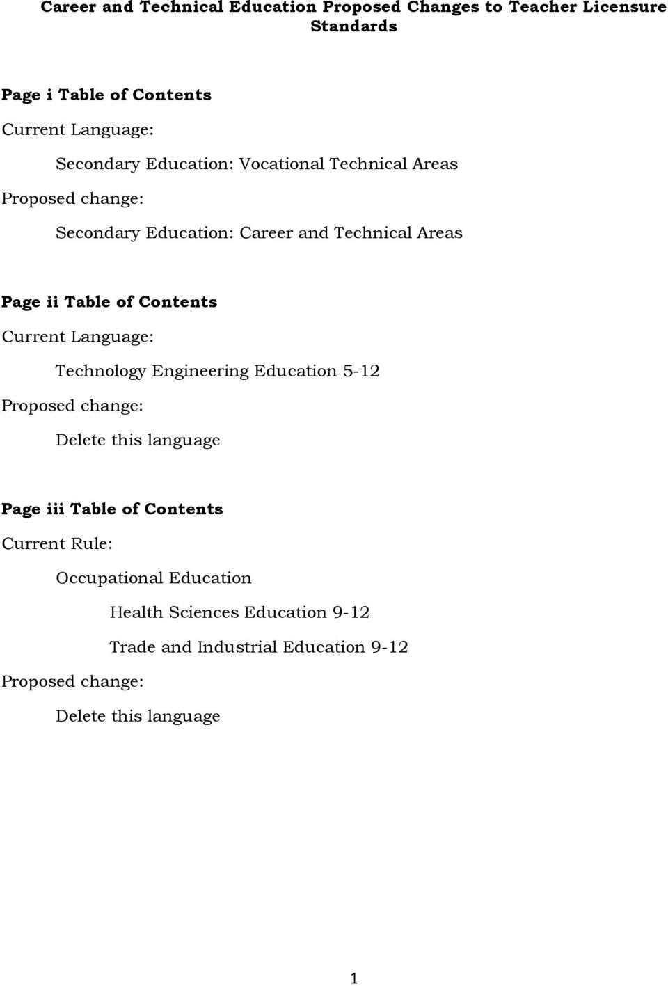 Current Language: Technology Engineering Education 5-12 Proposed change: Delete this language Page iii Table of Contents Current