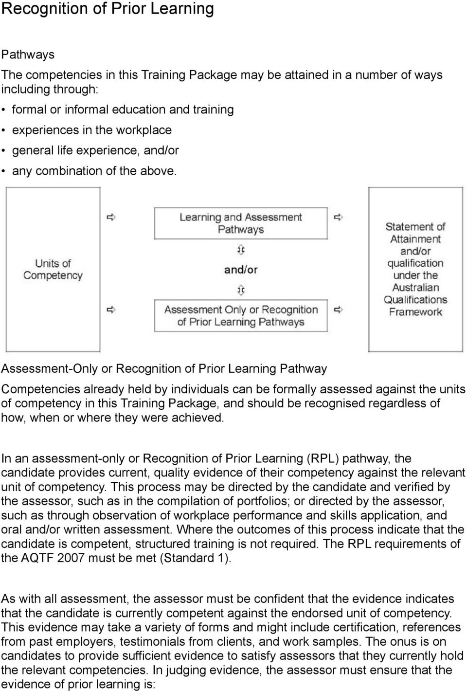 Assessment-Only or Recognition of Prior Learning Pathway Competencies already held by individuals can be formally assessed against the units of competency in this Training Package, and should be
