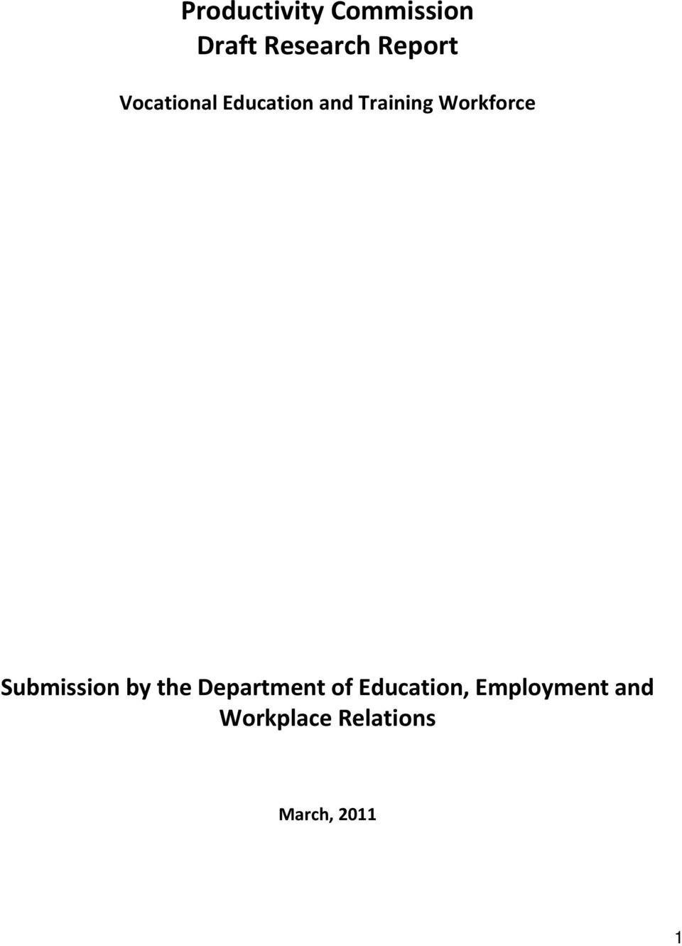 Submission by the Department of Education,