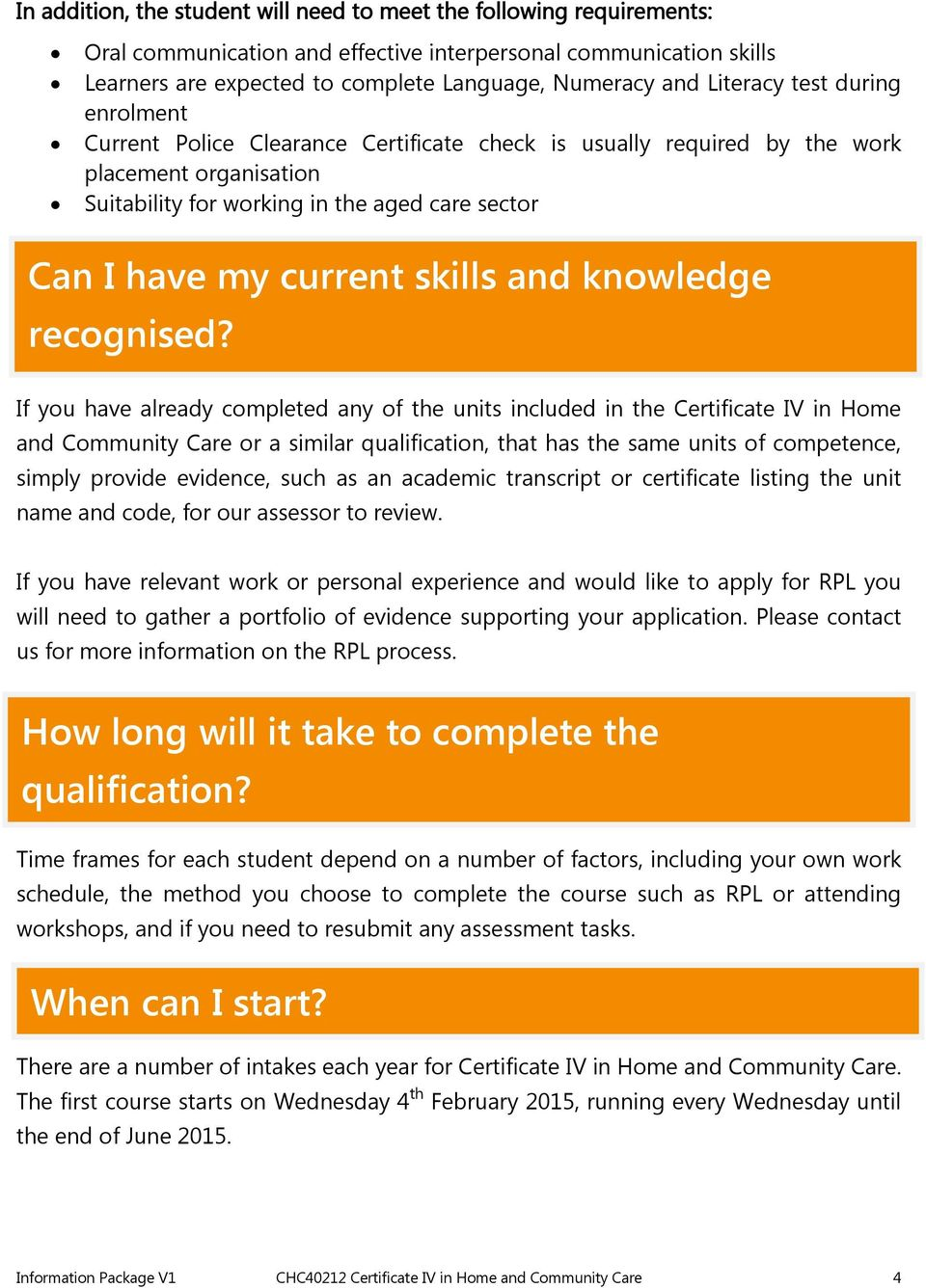 skills and knowledge recognised?