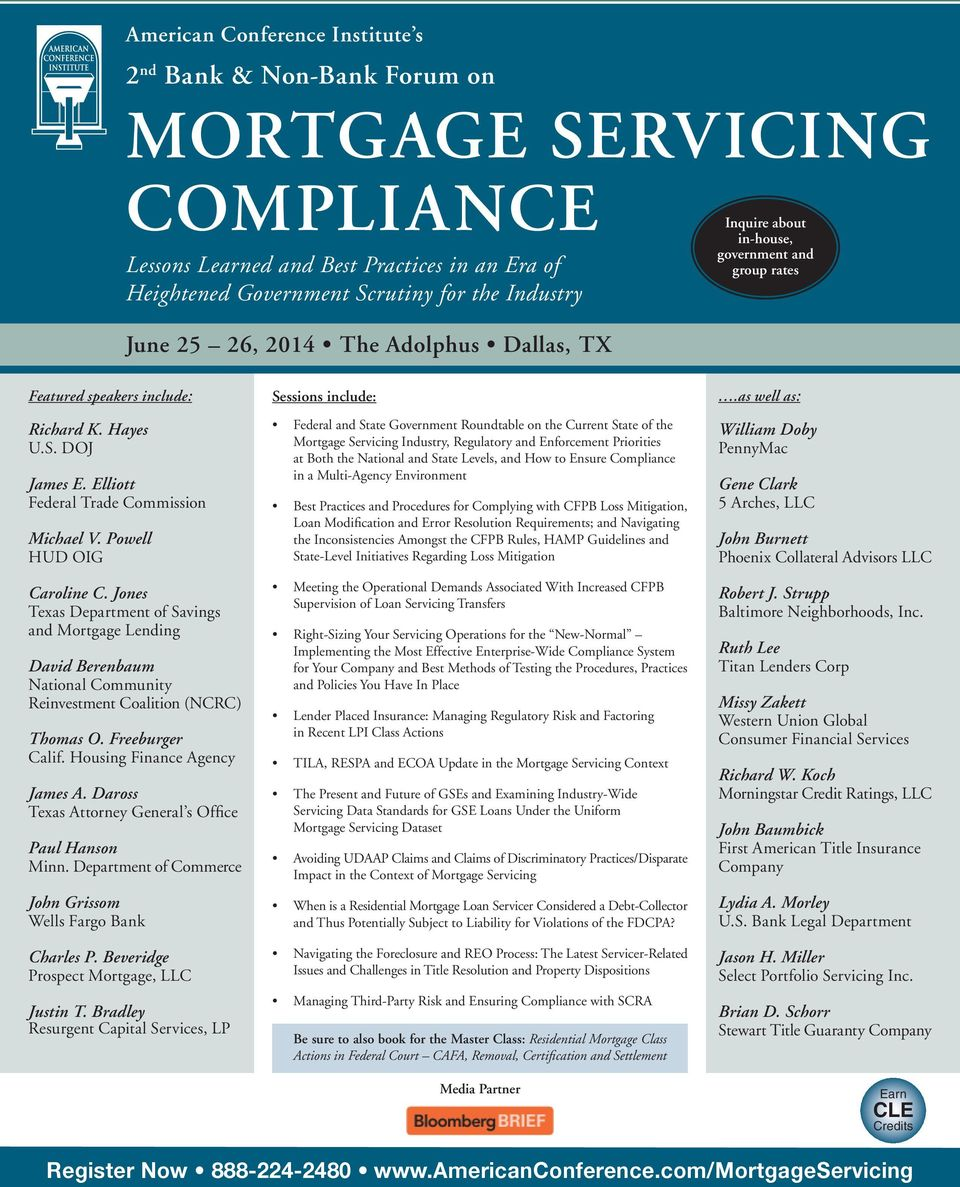 MORTGAGE SERVICING COMPLIANCE Lessons Learned and Best