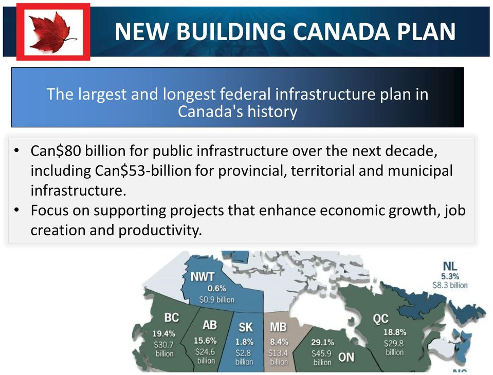 including Can$53-billion for provincial, territorial and municipal infrastructure.