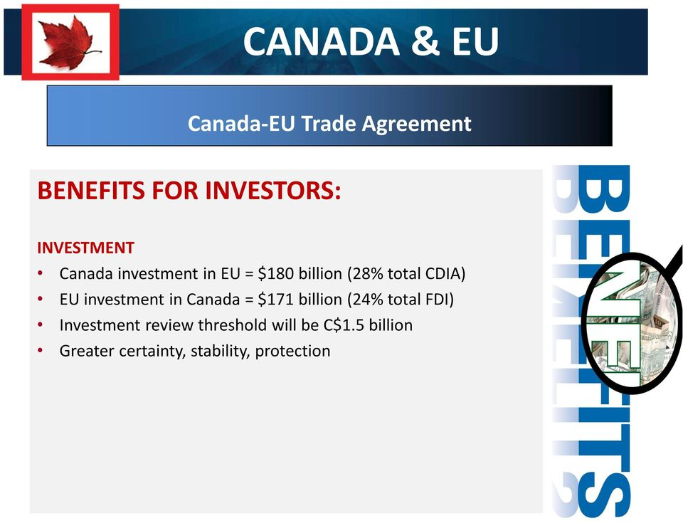 EU investment in Canada = $171 billion (24% total FDI) Investment