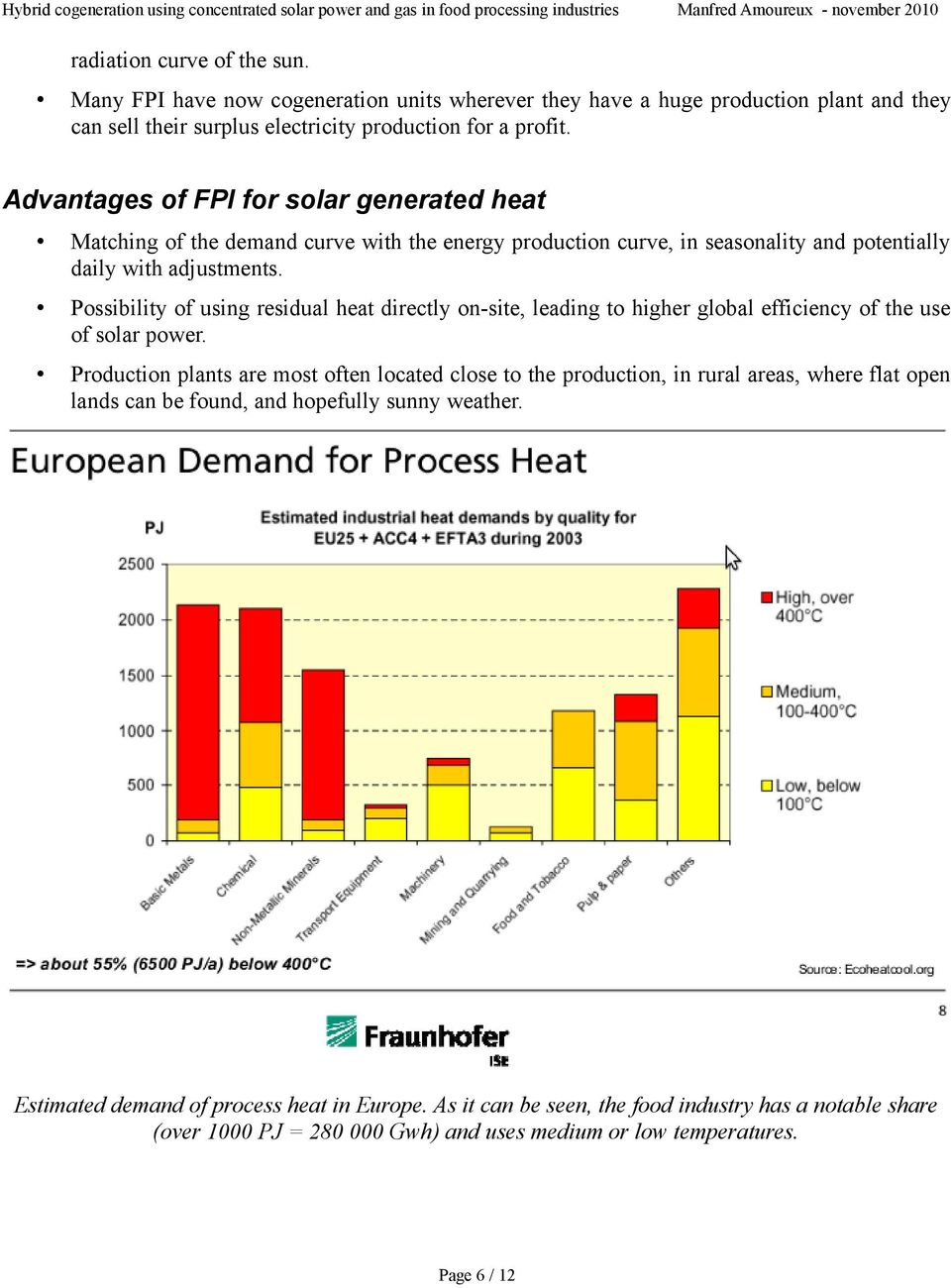 Possibility of using residual heat directly on-site, leading to higher global efficiency of the use of solar power.