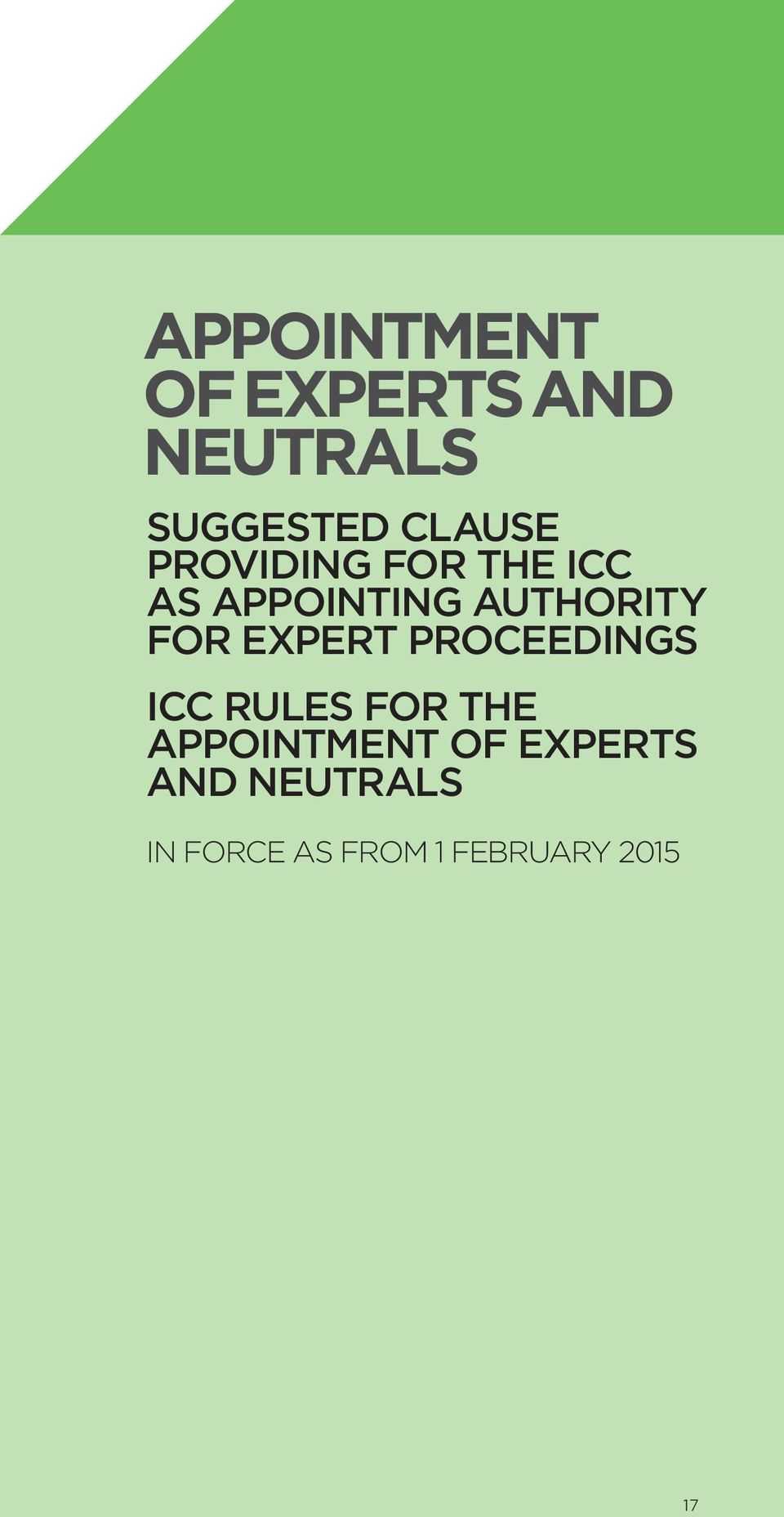 expert proceedings icc rules for the appointment of