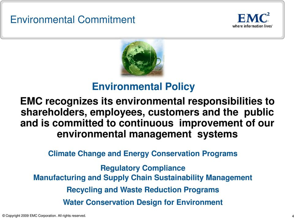 environmental management systems Climate Change and Energy Conservation Programs Regulatory Compliance