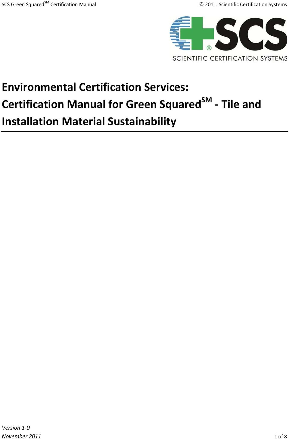 Certification Services: Certification Manual for Green