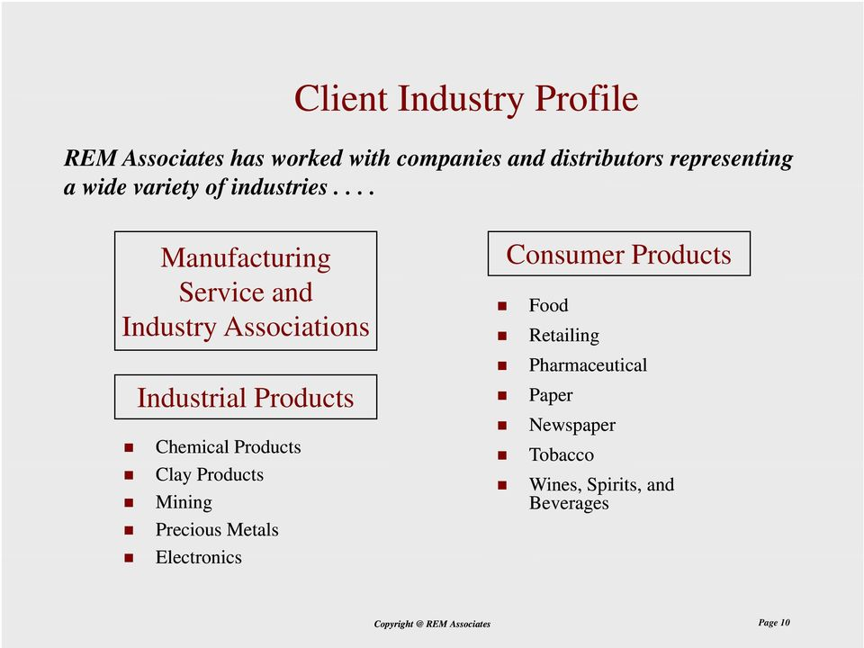... Manufacturing Service and Industry Associations Industrial Products Chemical Products Clay
