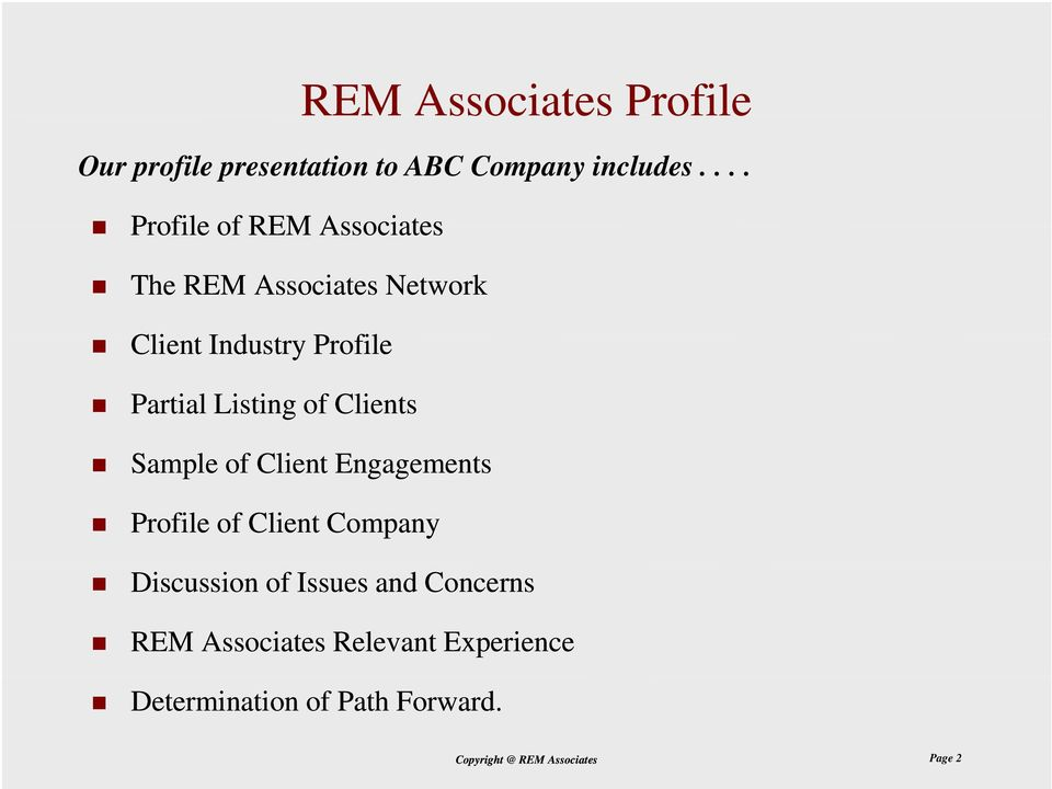 ... The REM Associates Network Client Industry Profile Partial Listing of Clients Sample of