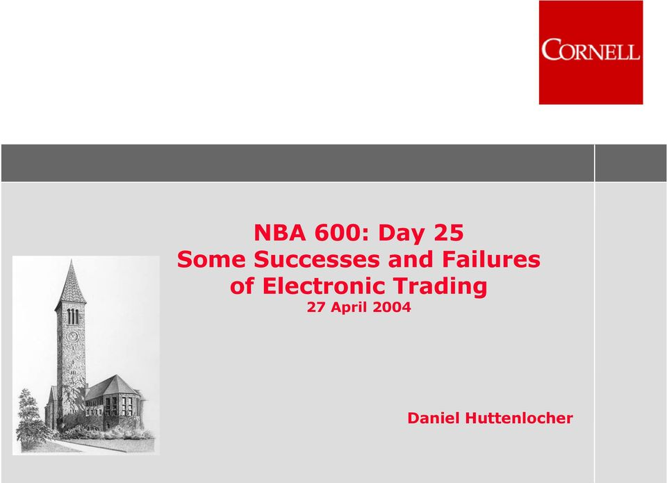 of Electronic Trading 27