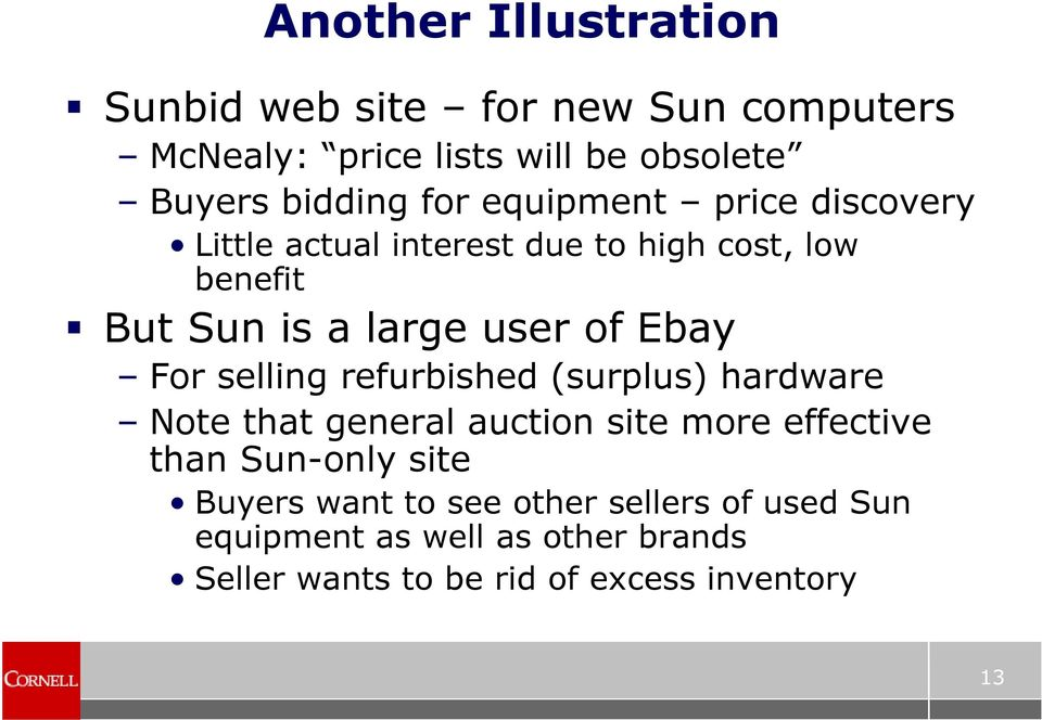 For selling refurbished (surplus) hardware Note that general auction site more effective than Sun-only site Buyers