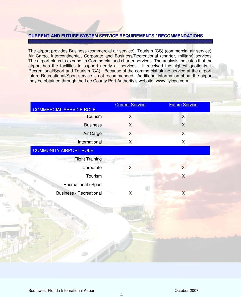 The analysis indicates that the airport has the facilities to support nearly all services. It received the highest quotients in Recreational/Sport and Tourism (CA).