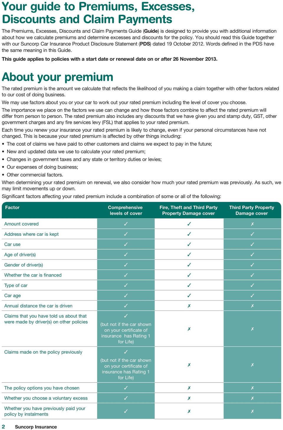 Words defined in the PDS have the same meaning in this Guide. This guide applies to policies with a start date or renewal date on or after 26 November 2013.