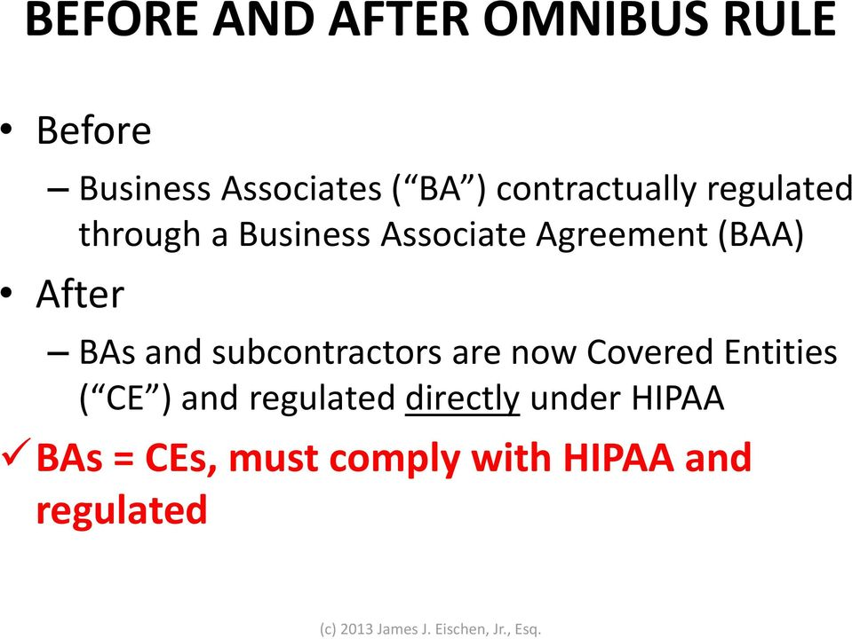 After BAs and subcontractors are now Covered Entities ( CE ) and