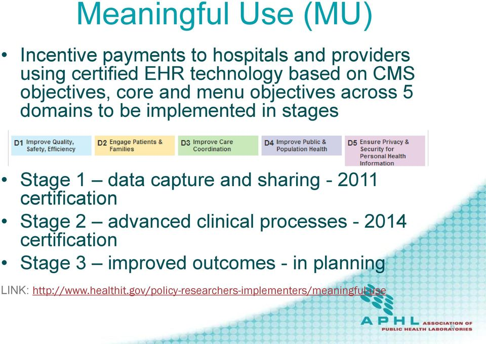 capture and sharing - 2011 certification Stage 2 advanced clinical processes - 2014 certification Stage 3