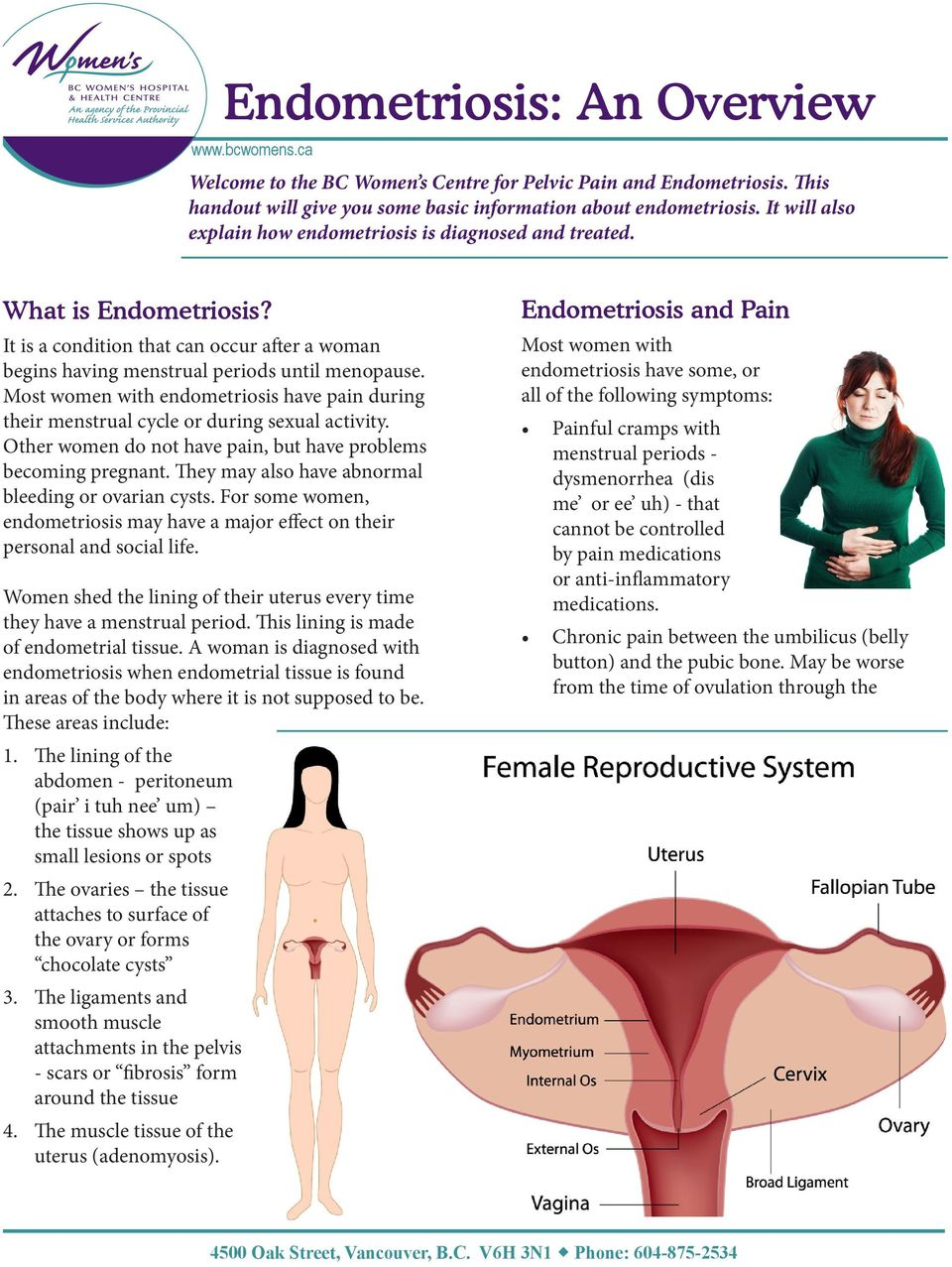 Most women with endometriosis have pain during their menstrual cycle or during sexual activity. Other women do not have pain, but have problems becoming pregnant.