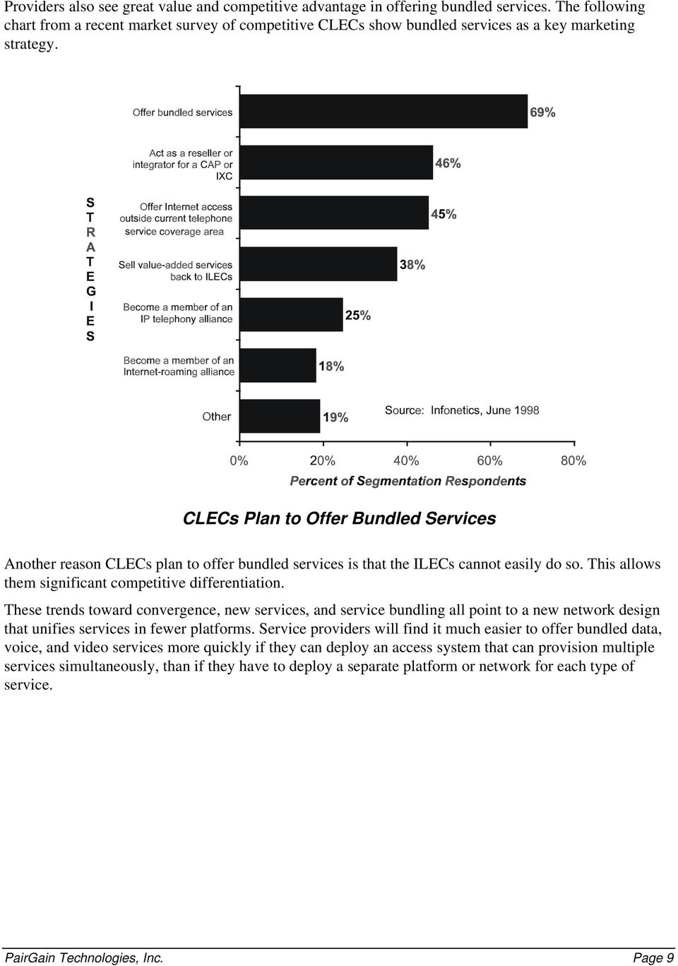 CLECs Plan to Offer Bundled Services Another reason CLECs plan to offer bundled services is that the ILECs cannot easily do so. This allows them significant competitive differentiation.