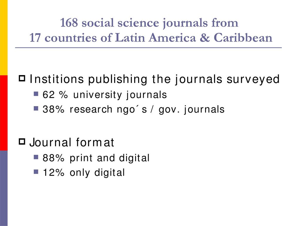 surveyed 62 % university journals 38% research ngo s /