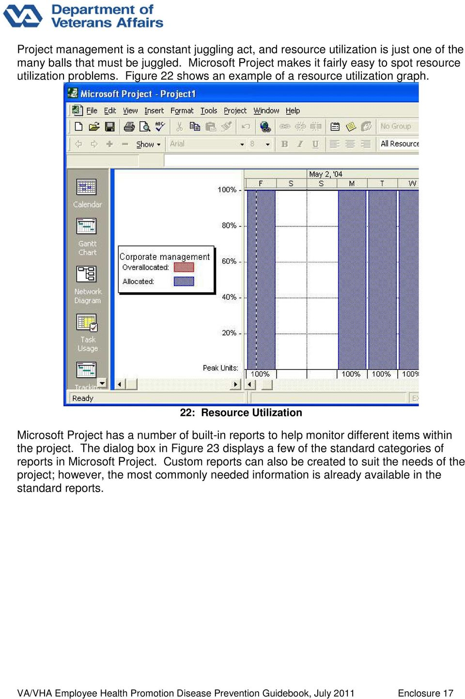 22: Resource Utilization Microsoft Project has a number of built-in reports to help monitor different items within the project.