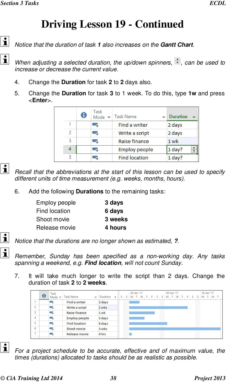 Change the Duration for task 3 to 1 week. To do this, type 1w and press <Enter>.