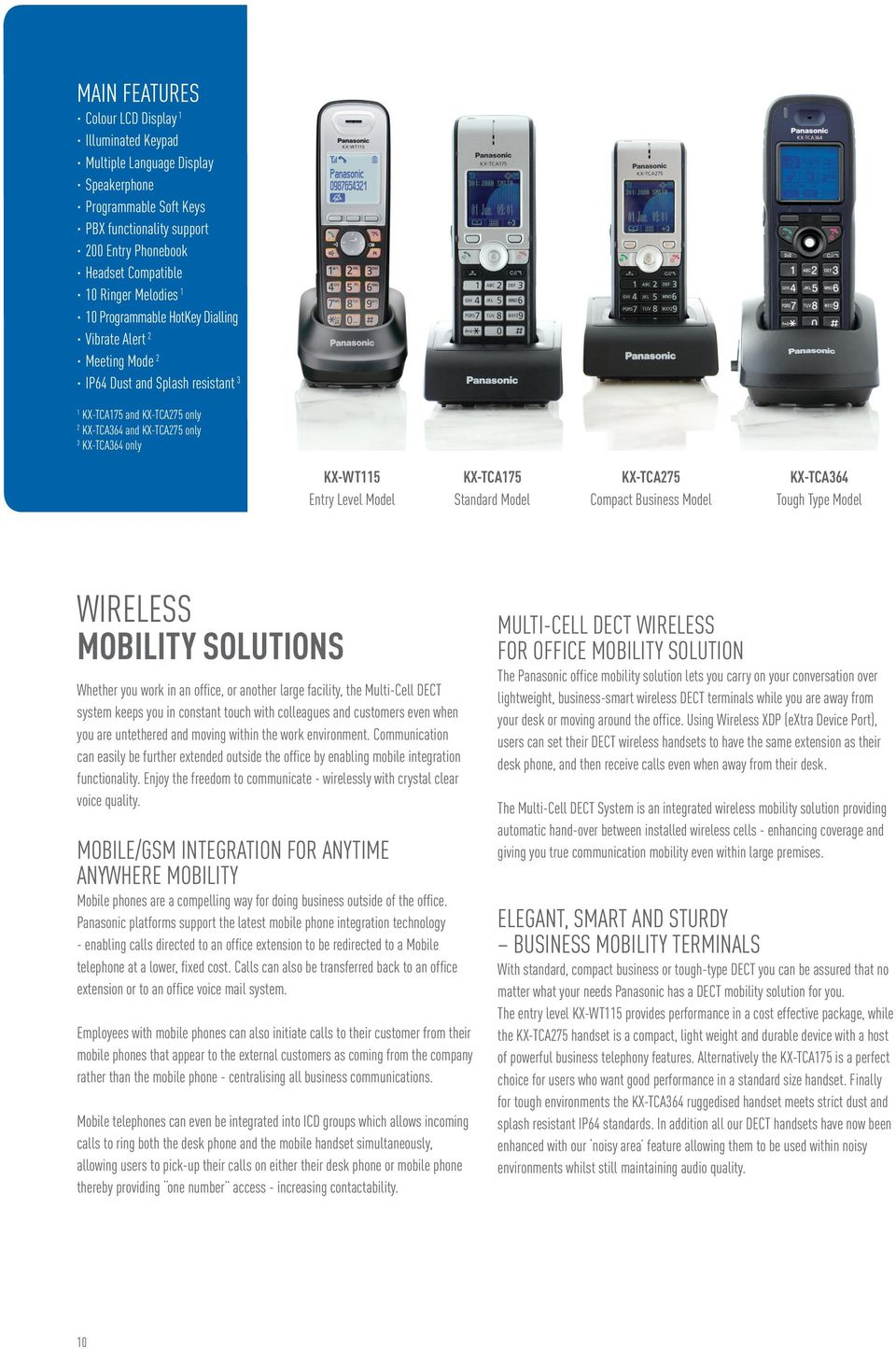 Model KX-TCA175 Standard Model KX-TCA275 Compact Business Model KX-TCA364 Tough Type Model WIRELESS MOBILITY SOLUTIONS Whether you work in an office, or another large facility, the Multi-Cell DECT