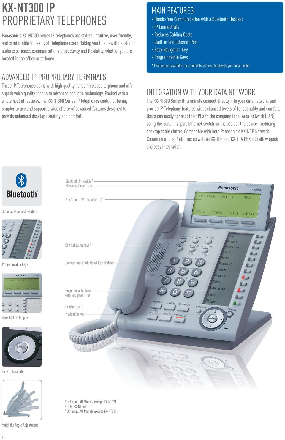 ADVANCED IP PROPRIETARY TERMINALS These IP Telephones come with high quality hands-free speakerphone and offer superb voice quality thanks to advanced acoustic technology.