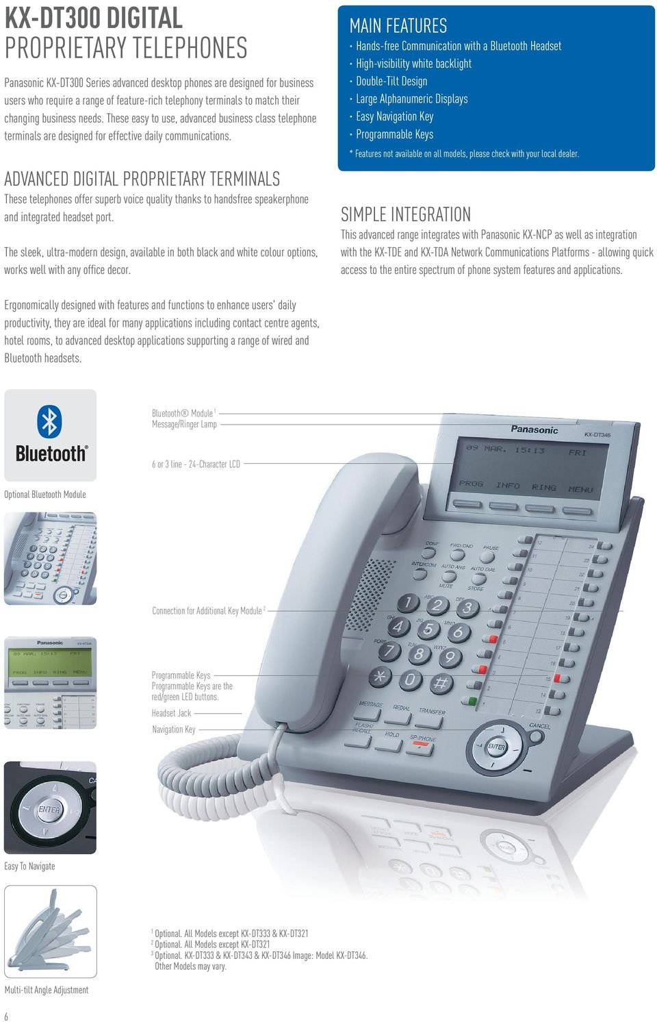 ADVANCED DIGITAL PROPRIETARY TERMINALS These telephones offer superb voice quality thanks to handsfree speakerphone and integrated headset port.