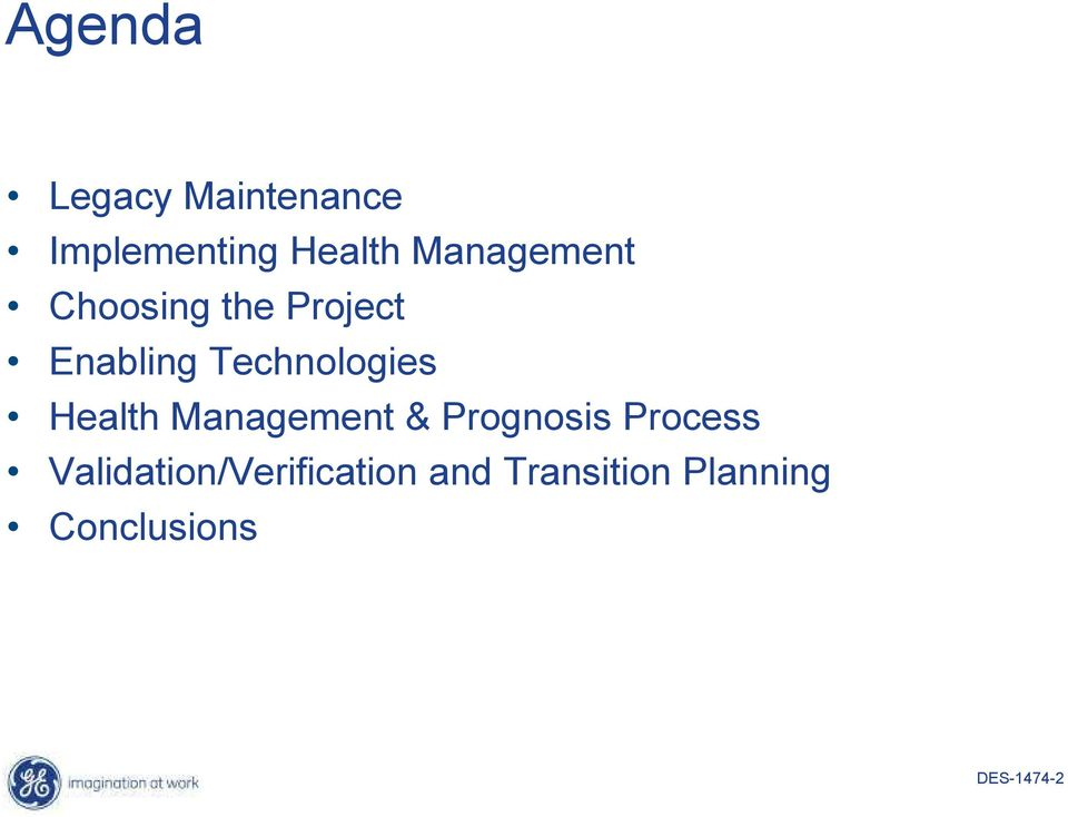 Technologies Health Management & Prognosis Process