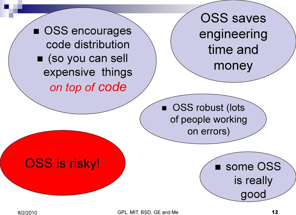 time and money OSS robust (lots of people working on